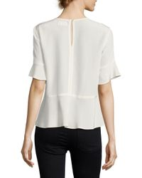 DKNY | White Short Sleeve Peplum Top | Lyst