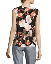 Calvin Klein Black Pleated Floral Shell