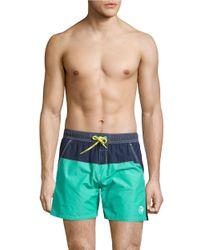 DIESEL Blue Colorblocked Swim Shorts for men