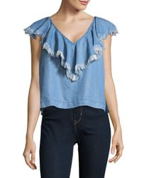 Plenty by Tracy Reese - Blue Flounced Chambray Tee - Lyst