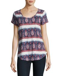 Lucky Brand | Blue Painted Border Tee | Lyst