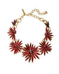 Oscar de la Renta - Red Stone-accented Floral Statement Necklace - Lyst