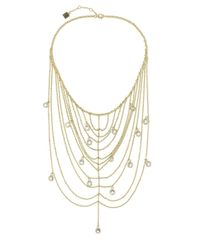 Laundry by Shelli Segal - Metallic Glass, Zinc And Metal Chain Frontal Necklace - Lyst