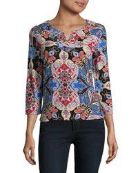 Rafaella - Multicolor Split Neck Cotton Shirt - Lyst