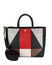 Calvin Klein   Black Geometric Faux Leather Tote   Lyst