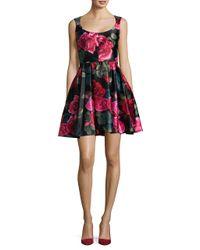 Betsy & Adam | Black Floral Scoopneck A-line Dress | Lyst