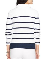 Lauren by Ralph Lauren White Petite Striped Double-breasted Jacket