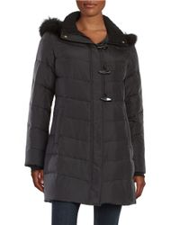 Ellen Tracy | Black Fox Fur-trimmed Puffer Coat | Lyst