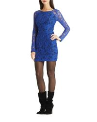 BCBGeneration | Blue Long Sleeve Lace Sheath | Lyst