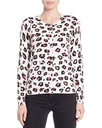 Lord & Taylor | White Animal-print Cotton-modal Cardigan | Lyst