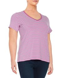Lord & Taylor | Purple Plus Striped Stretch-cotton Tee | Lyst