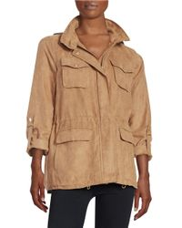 Vince Camuto | Natural Faux Suede Barn Jacket | Lyst