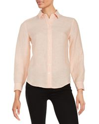 Lord & Taylor   Pink Petite Linen Blouse   Lyst