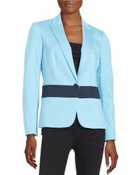 Anne Klein   Blue Paneled One-button Blazer   Lyst