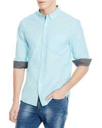 Kenneth Cole | Blue Slim Fit Solid Sportshirt for Men | Lyst