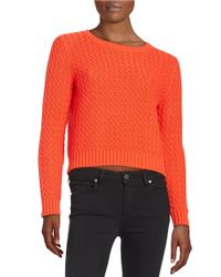 Lord & Taylor | Red Plus Knit Crewneck Sweater | Lyst