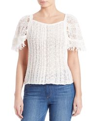 Free People | Blue Crocheted-sleeve Top | Lyst