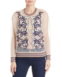 Betina   White Beaded Sheer Pullover Top   Lyst