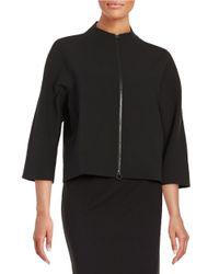 Ellen Tracy | Black Front Zip Cardigan Jacket | Lyst