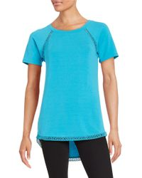 Lord & Taylor   Blue Crochet-trimmed Tee   Lyst