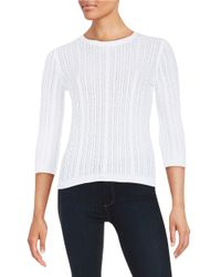 Lord & Taylor | White Cableknit Sweater | Lyst