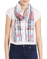 Lord & Taylor | Blue Two-patterned Scarf | Lyst