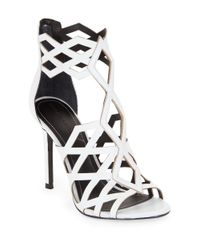 Kendall + Kylie | White Elena Leather Cage Sandals | Lyst