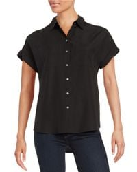 Lord & Taylor   Black Two Pocket Button-down Blouse   Lyst