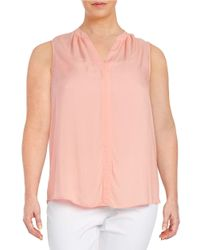 Lord & Taylor | Pink Plus Textured Sleeveless Blouse | Lyst