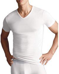 Calvin Klein | White V-neck Short Sleeve Tee for Men | Lyst