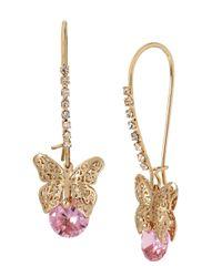 Betsey Johnson   Metallic Spring Critters Cubic Zirconia Butterfly Drop Earrings   Lyst
