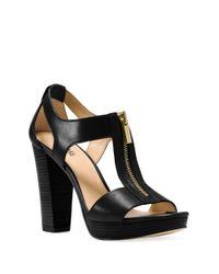 MICHAEL Michael Kors | Black Berkley Platform Leather Sandals | Lyst