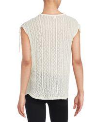 Ella Moss - Natural Crochet Back Knit Top - Lyst