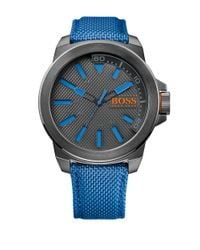 BOSS New York Gray Ip Stainless Steel Blue Nylon Strap Watch, 1513008 for men