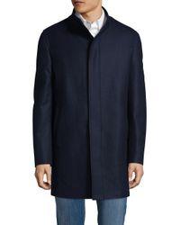 Calvin Klein Blue Milton High Neck Coat
