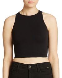 Free People | Black Bella Coachella Crop Seamless Cami | Lyst