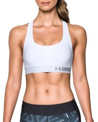 Under Armour - White Solid Crossback Bra - Lyst