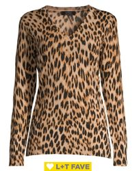Lord & Taylor Black Leopard V-neck Wool Sweater