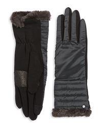 Lauren by Ralph Lauren - Blue Faux Fur-trimmed Puffer Gloves for Men - Lyst