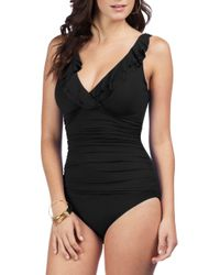 Lauren by Ralph Lauren - Black Beach Club Ruffle One-piece Swimsuit - Lyst