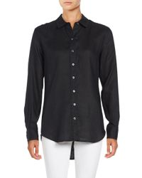 Lord & Taylor | Black Linen Blouse | Lyst
