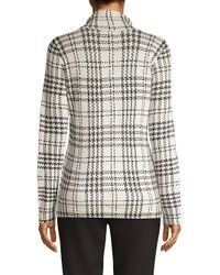 Lord & Taylor White Printed Rollneck Sweater