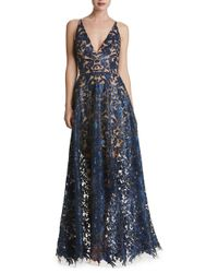 Dress the Population - Blue Simone Sequined Lace A-line Gown - Lyst