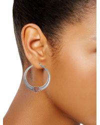 Lucky Brand Metallic Floral Tribes Silvertone Hoop Earrings