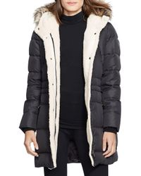 Lauren by Ralph Lauren | Black Berber And Faux Fur-trimmed Hood Anorak | Lyst