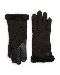 Ugg | Black Textured Suede And Fur Gloves for Men | Lyst