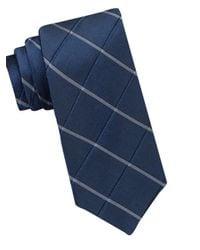 Calvin Klein | Blue Silk-blend Windowpane Tie for Men | Lyst