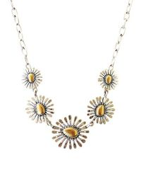 Lucky Brand Metallic Two-tone Floral Collar Necklace