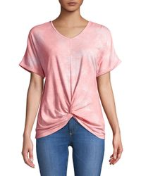C&C California - Pink Knotted Front-tie Tops - Lyst