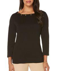 Rafaella - Black Embellished Knit Top - Lyst